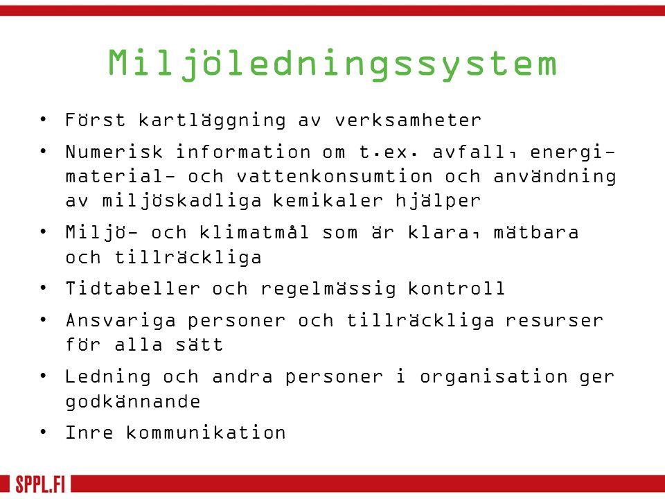 Miljöledningssystem Först kartläggning av verksamheter