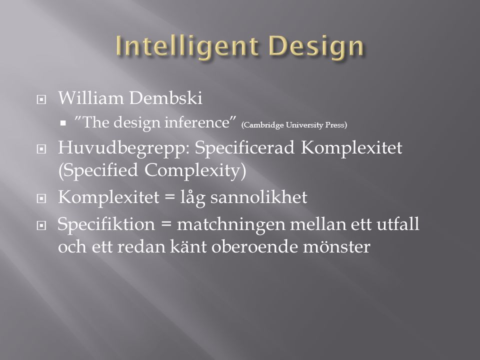 Intelligent Design William Dembski