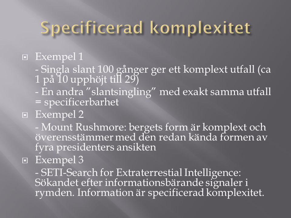 Specificerad komplexitet