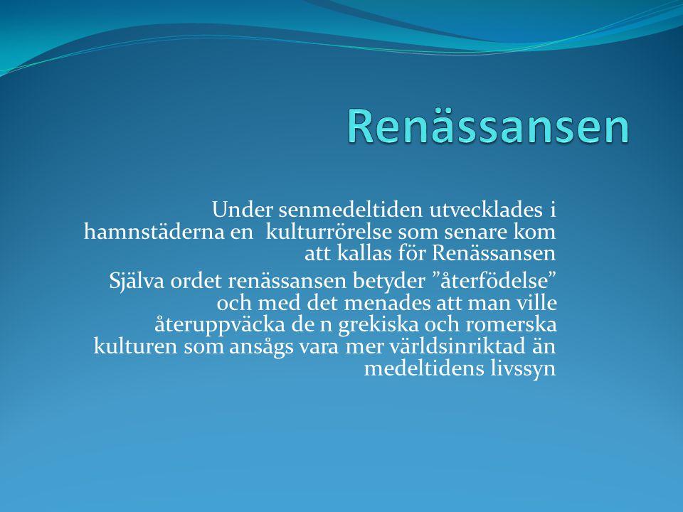Renässansen Under senmedeltiden utvecklades i hamnstäderna en kulturrörelse som senare kom att kallas för Renässansen.