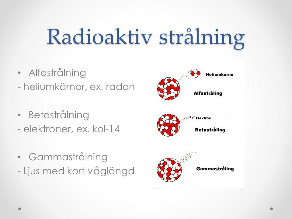 Radioaktiv strålning Alfastrålning - heliumkärnor, ex. radon