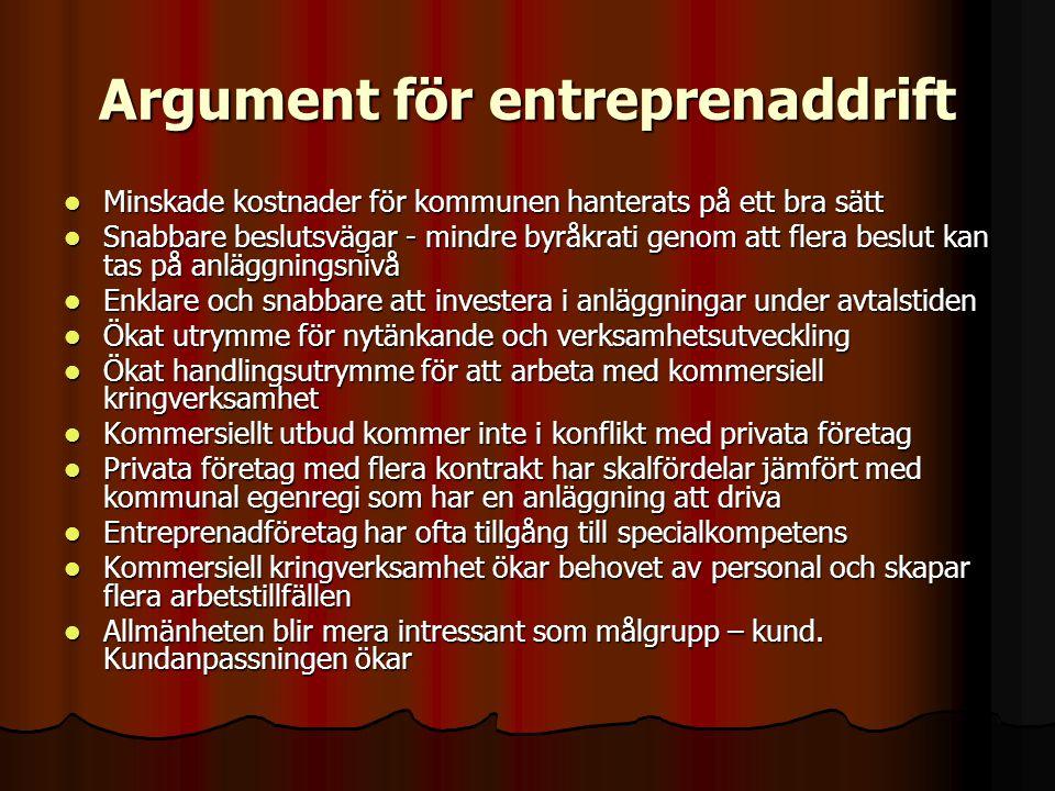 Argument för entreprenaddrift