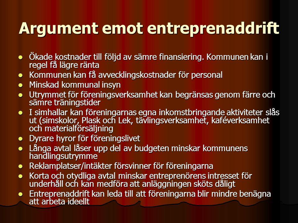 Argument emot entreprenaddrift