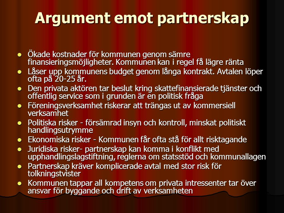 Argument emot partnerskap