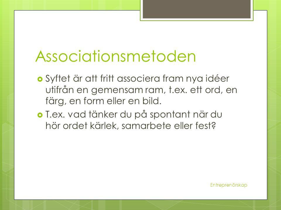 Associationsmetoden Syftet är att fritt associera fram nya idéer utifrån en gemensam ram, t.ex. ett ord, en färg, en form eller en bild.