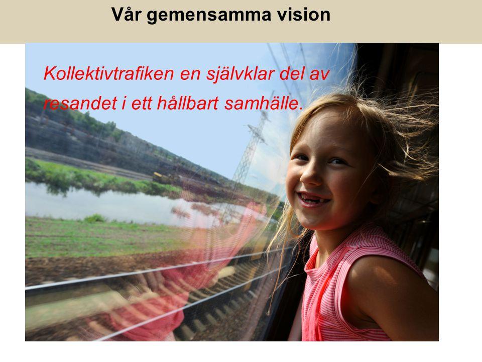 Vår gemensamma vision Kollektivtrafiken en självklar del av resandet i ett hållbart samhälle.