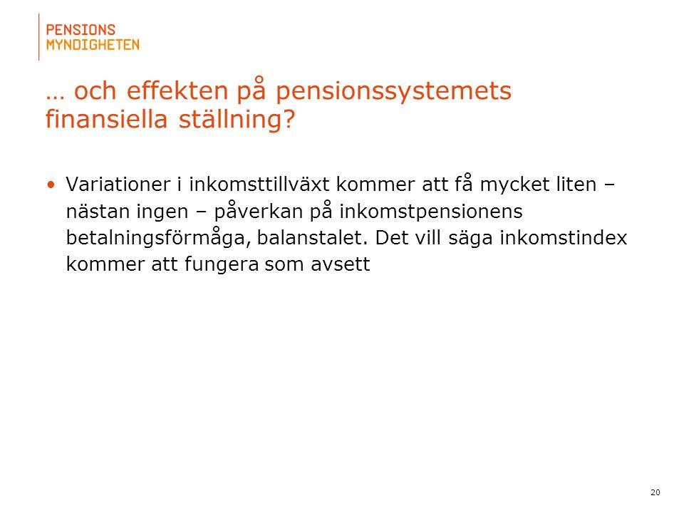 … och effekten på pensionssystemets finansiella ställning