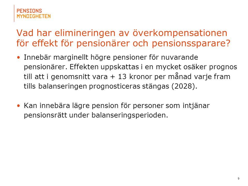 Vad har elimineringen av överkompensationen för effekt för pensionärer och pensionssparare