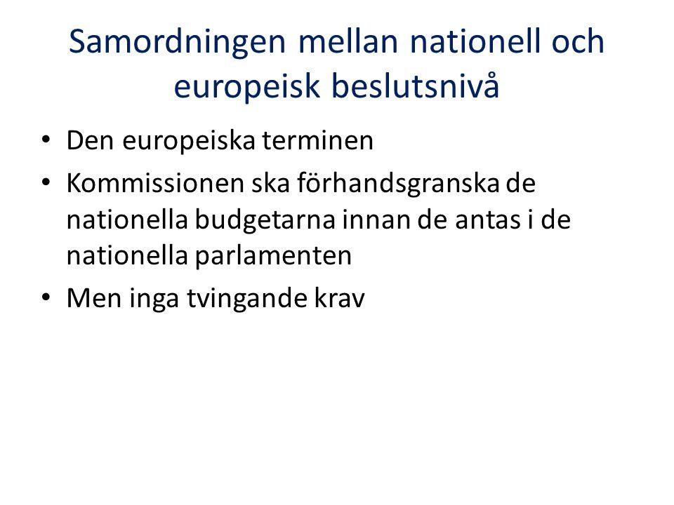 Samordningen mellan nationell och europeisk beslutsnivå