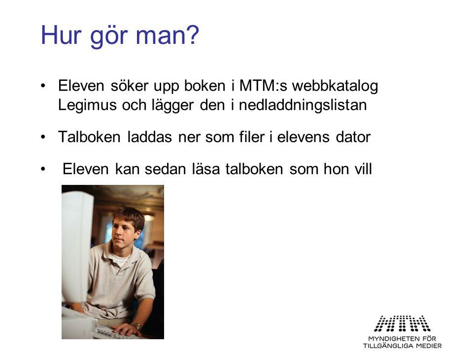 Hur gör man Eleven söker upp boken i MTM:s webbkatalog Legimus och lägger den i nedladdningslistan.