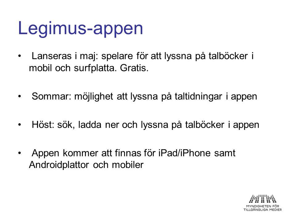 Legimus-appen Lanseras i maj: spelare för att lyssna på talböcker i mobil och surfplatta. Gratis.
