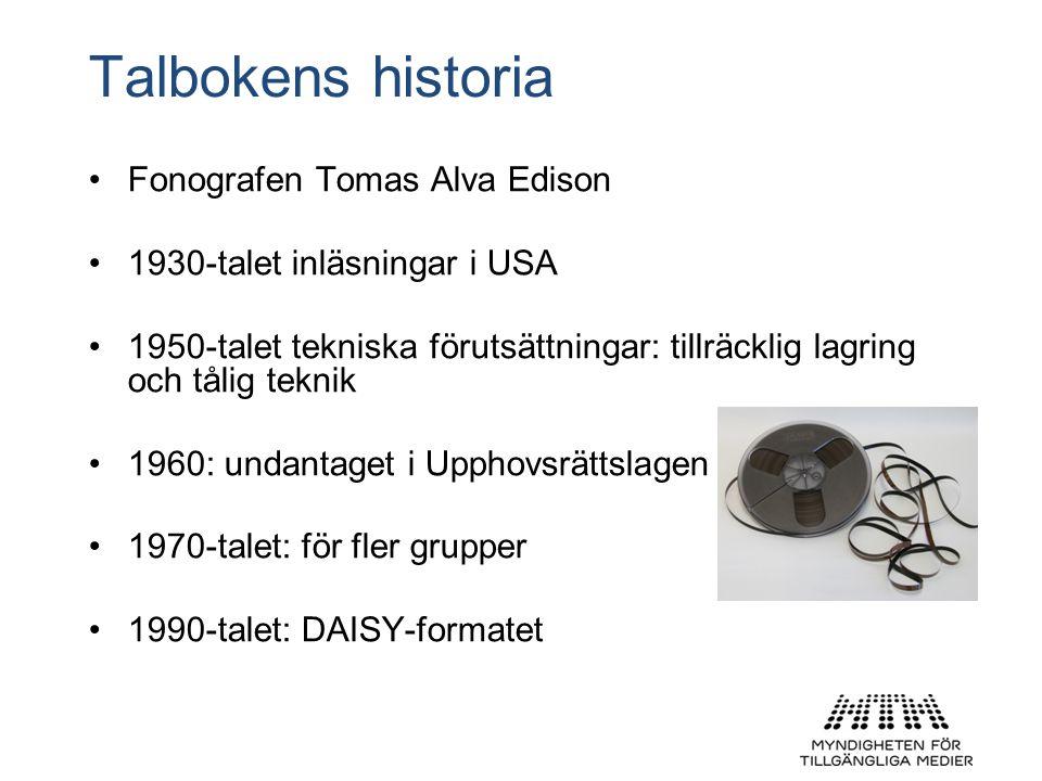 Talbokens historia Fonografen Tomas Alva Edison