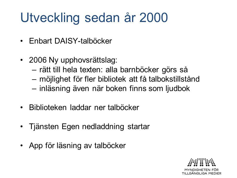 Utveckling sedan år 2000 Enbart DAISY-talböcker