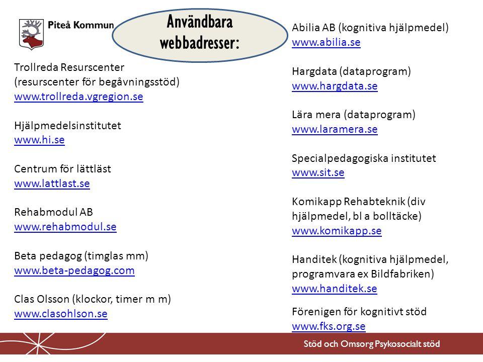 Användbara webbadresser: