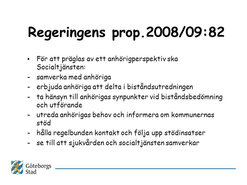 Regeringens prop.2008/09:82 För att präglas av ett anhörigperspektiv ska Socialtjänsten: samverka med anhöriga.