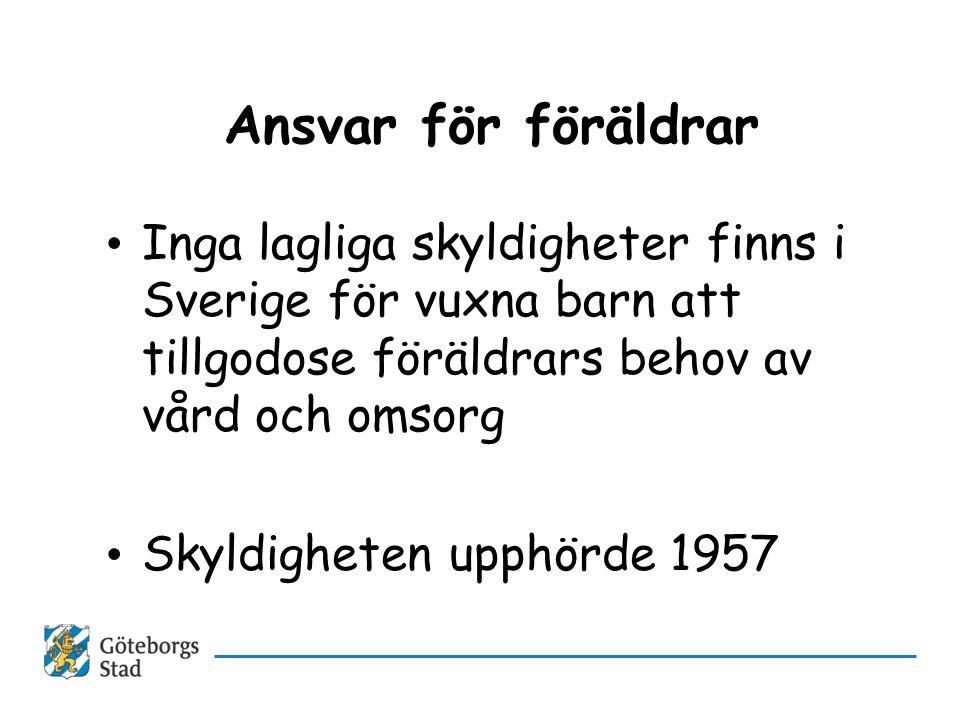 Ansvar för föräldrar Inga lagliga skyldigheter finns i Sverige för vuxna barn att tillgodose föräldrars behov av vård och omsorg.