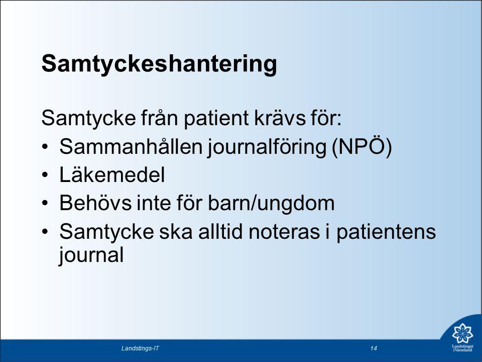 Samtyckeshantering Samtycke från patient krävs för: