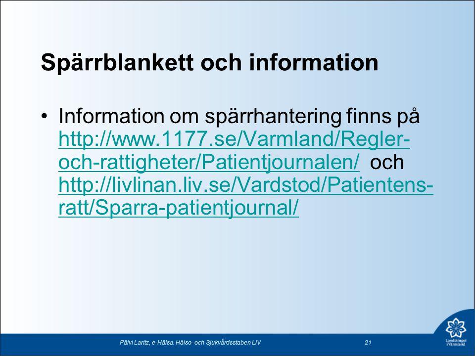 Spärrblankett och information