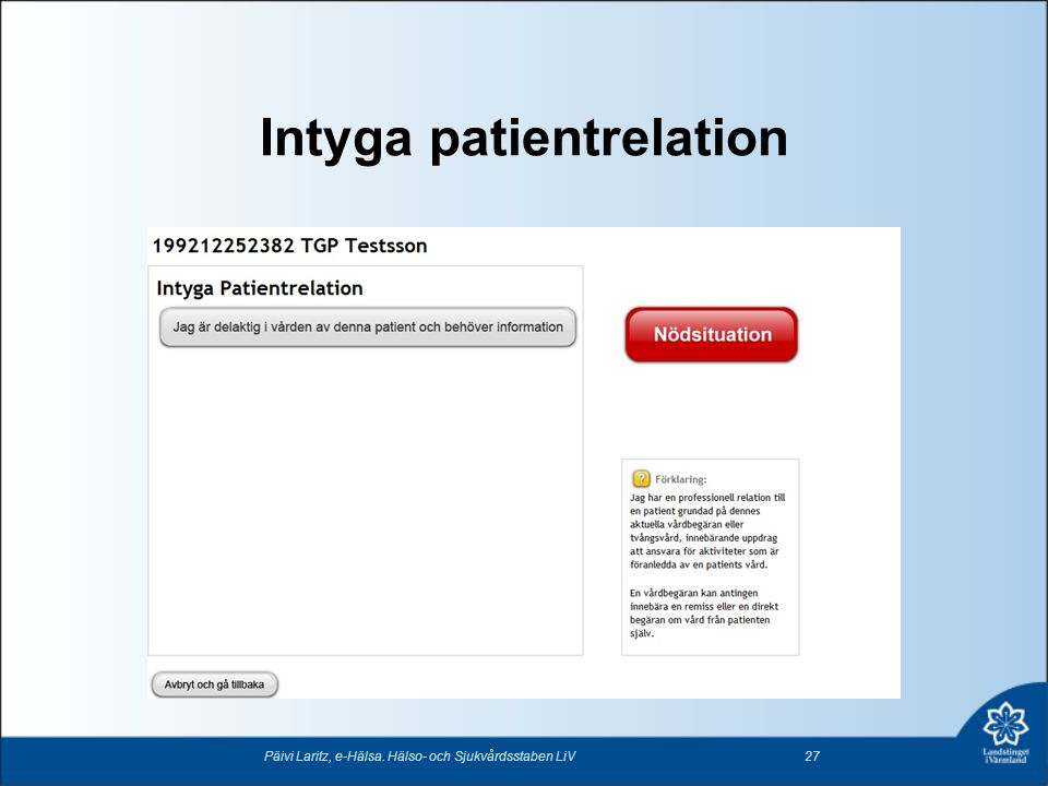 Intyga patientrelation