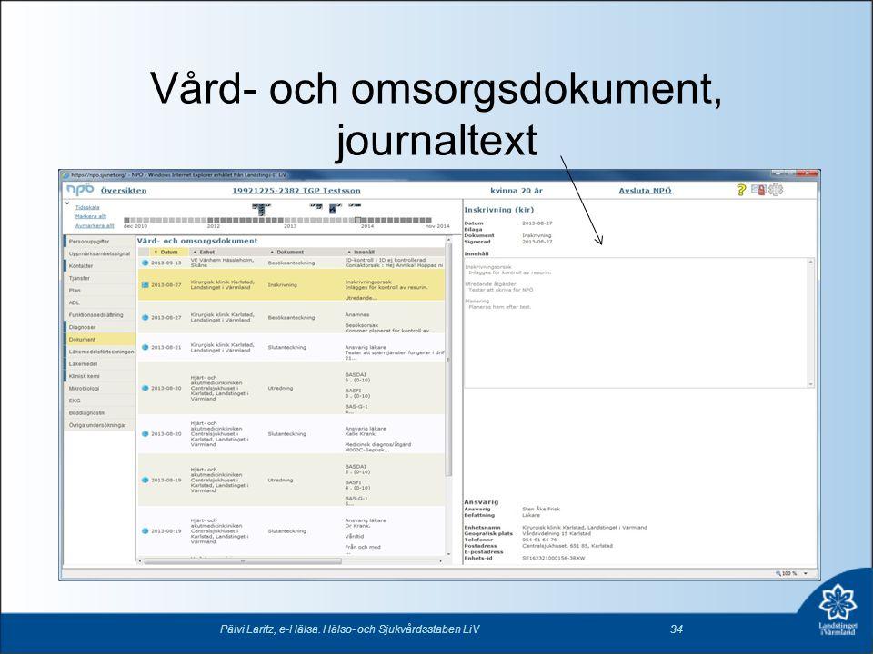Vård- och omsorgsdokument, journaltext