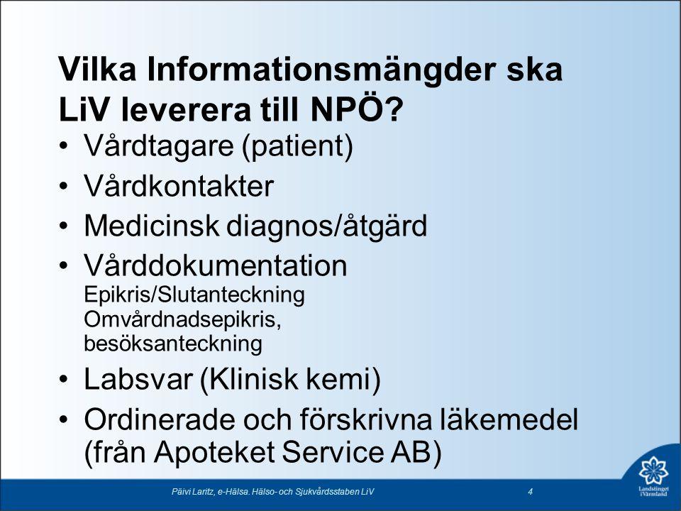 Vilka Informationsmängder ska LiV leverera till NPÖ