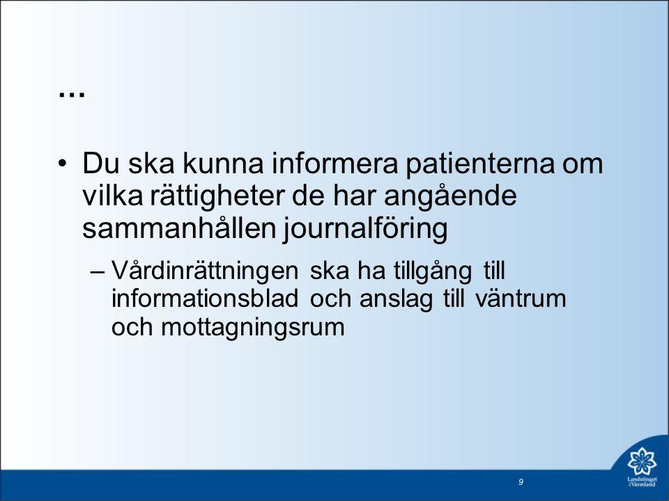 … Du ska kunna informera patienterna om vilka rättigheter de har angående sammanhållen journalföring.