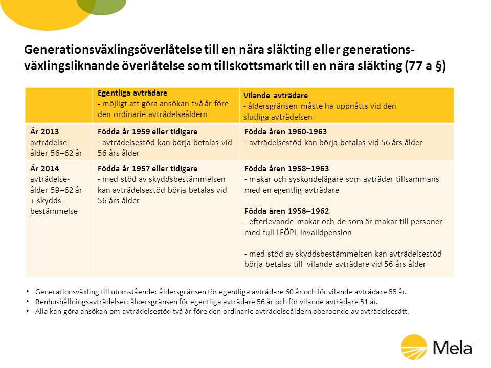 Generationsväxlingsöverlåtelse till en nära släkting eller generations- växlingsliknande överlåtelse som tillskottsmark till en nära släkting (77 a §)
