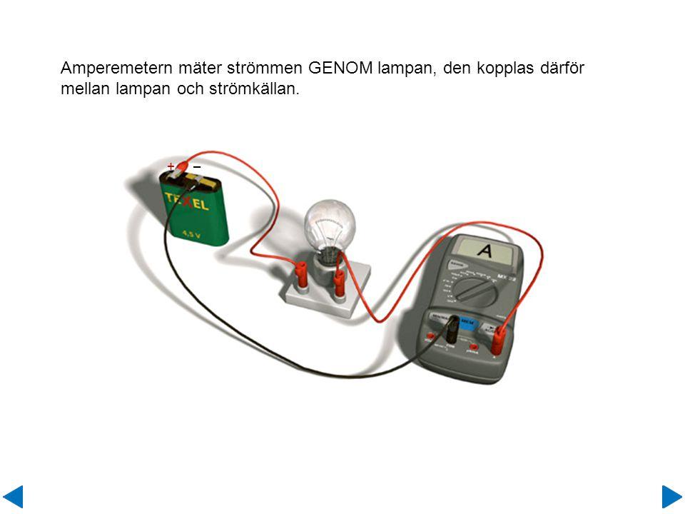 Amperemetern mäter strömmen GENOM lampan, den kopplas därför mellan lampan och strömkällan.