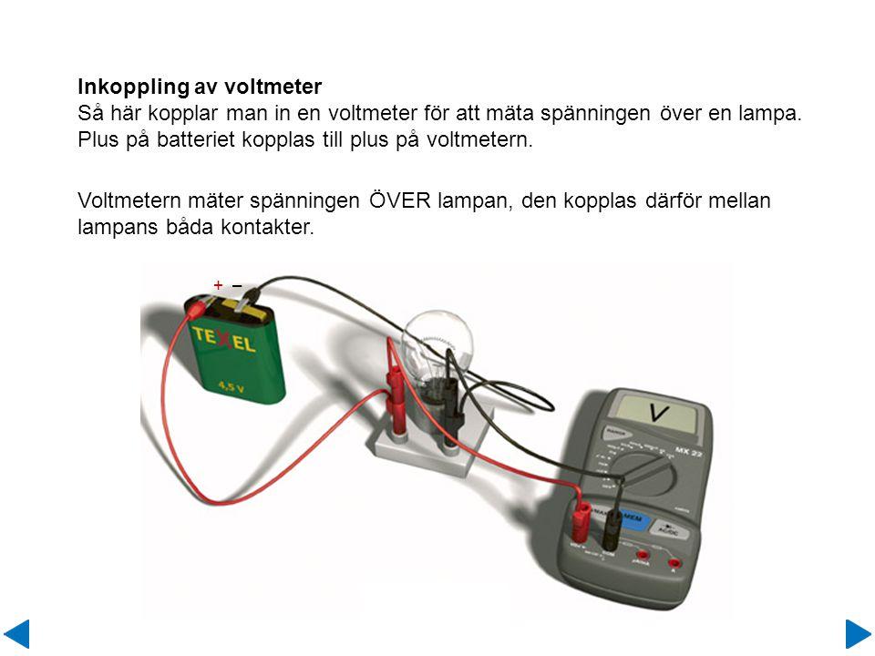 Inkoppling av voltmeter