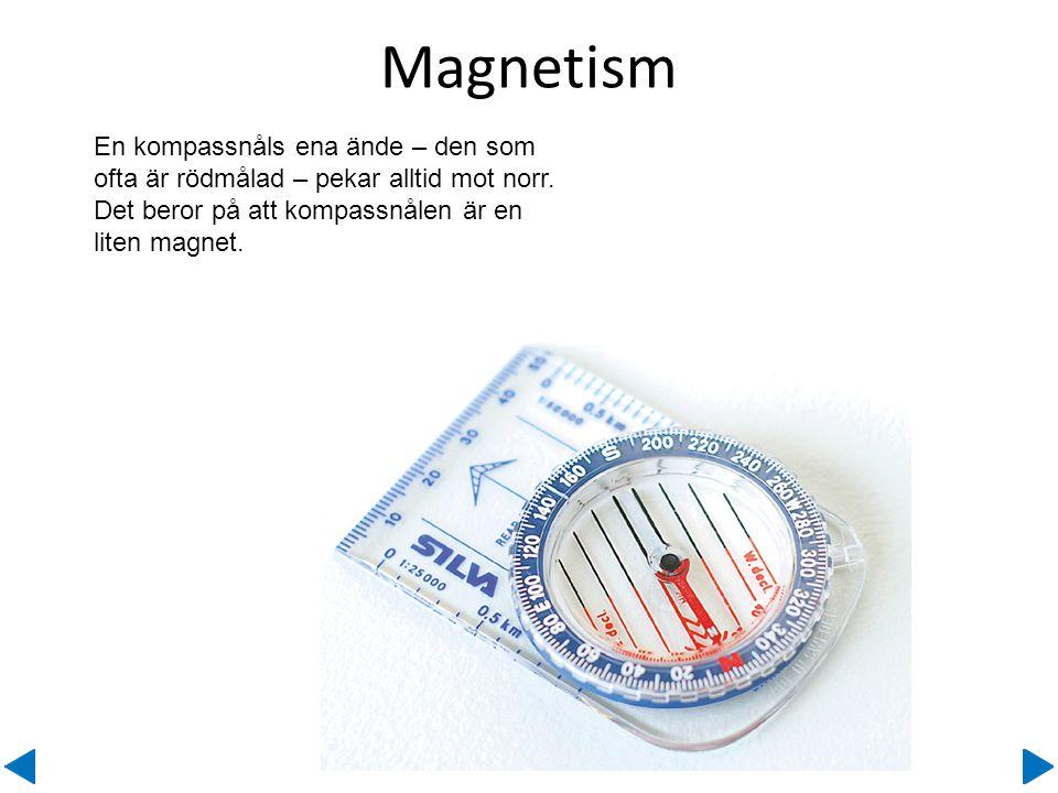 Magnetism En kompassnåls ena ände – den som ofta är rödmålad – pekar alltid mot norr.