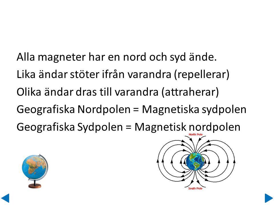 Alla magneter har en nord och syd ände.