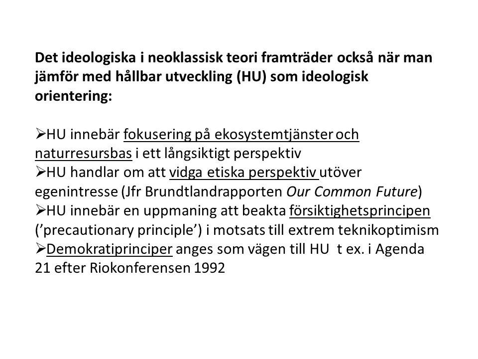 Det ideologiska i neoklassisk teori framträder också när man jämför med hållbar utveckling (HU) som ideologisk orientering: