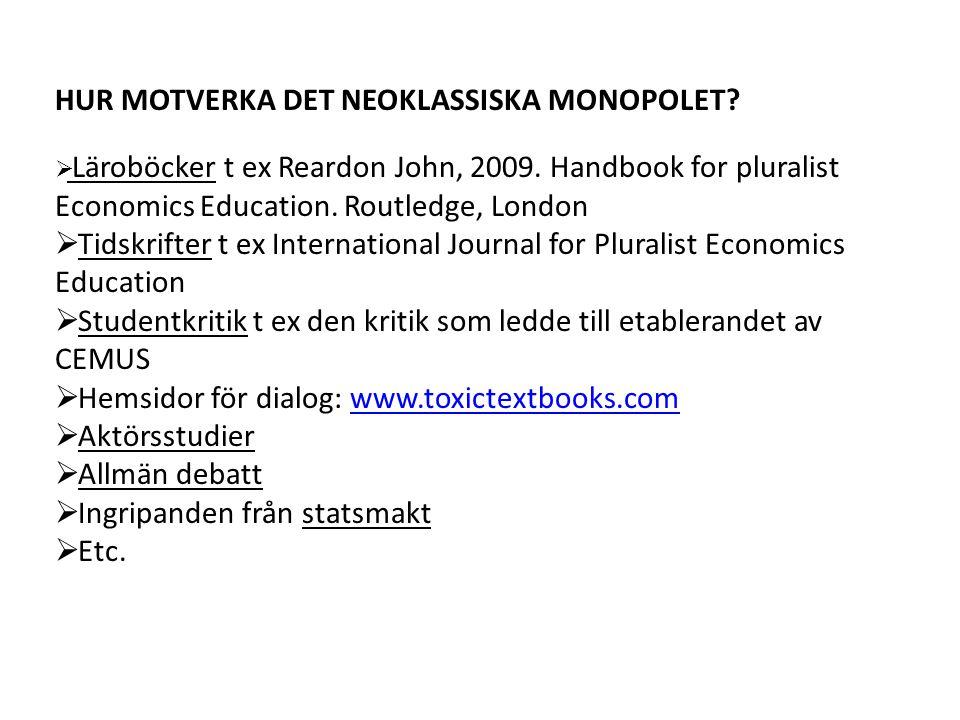 HUR MOTVERKA DET NEOKLASSISKA MONOPOLET