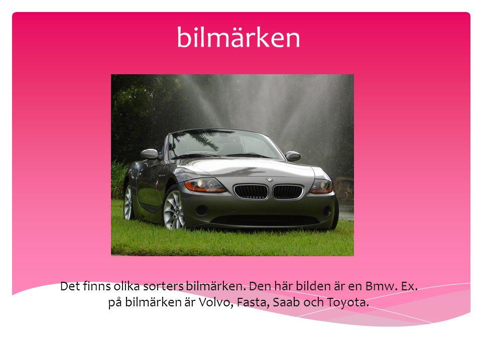bilmärken Det finns olika sorters bilmärken. Den här bilden är en Bmw.