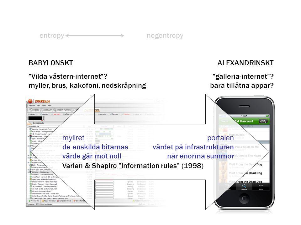 entropy negentropy. BABYLONSKT. Vilda västern-internet myller, brus, kakofoni, nedskräpning. ALEXANDRINSKT.