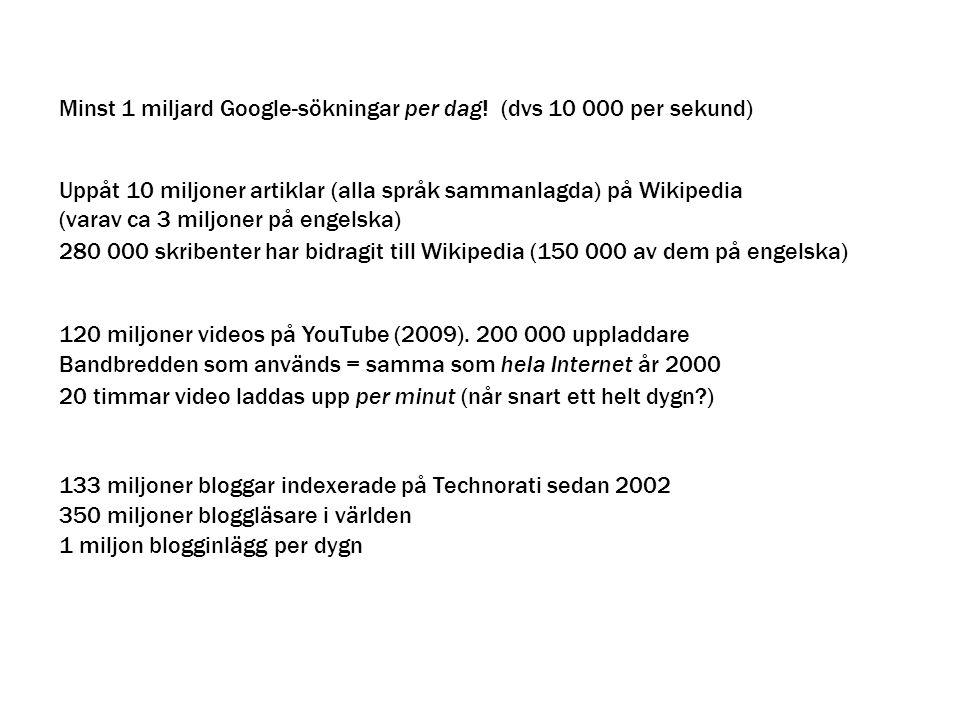Minst 1 miljard Google-sökningar per dag! (dvs 10 000 per sekund)