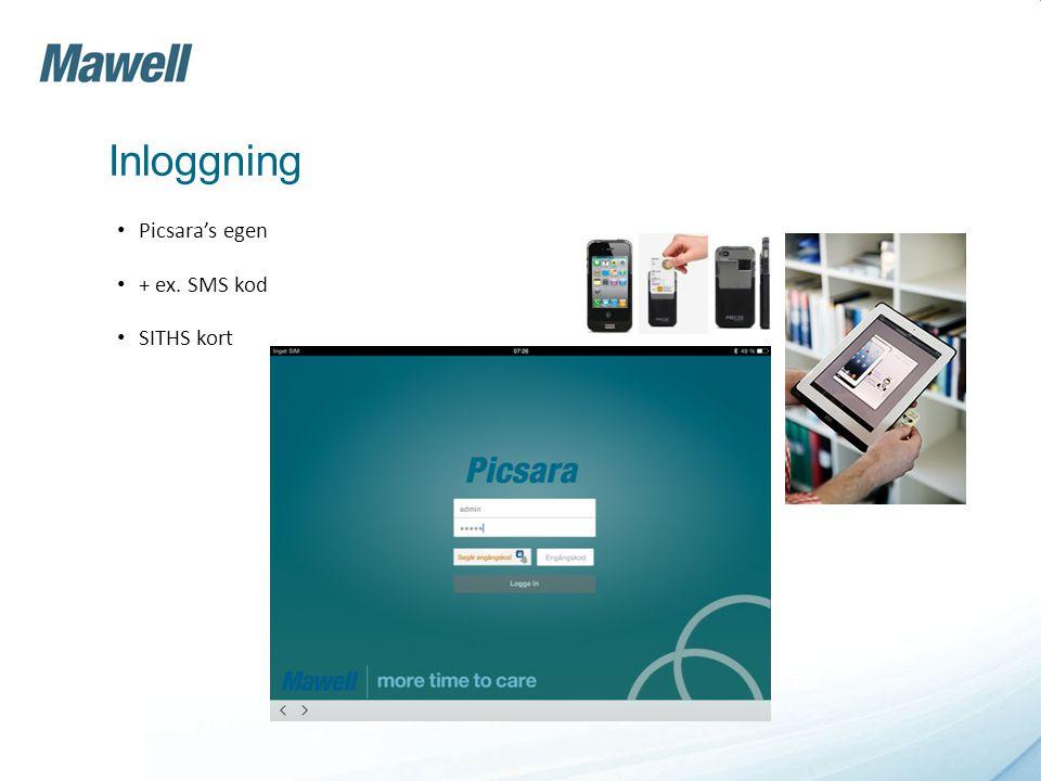 Inloggning Picsara's egen + ex. SMS kod SITHS kort