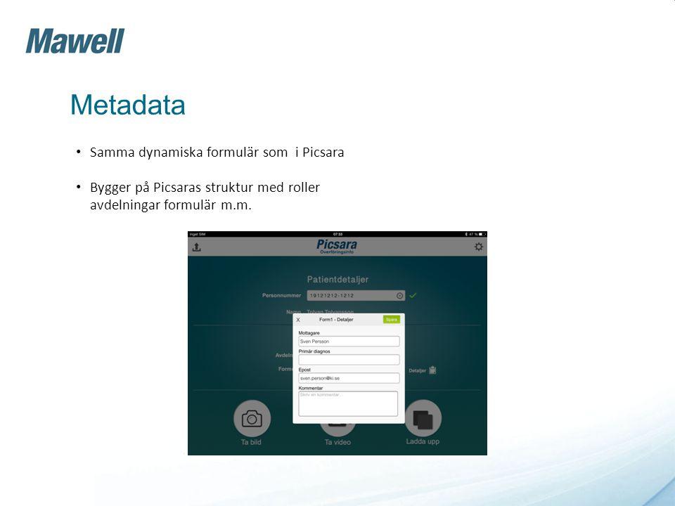 Metadata Samma dynamiska formulär som i Picsara