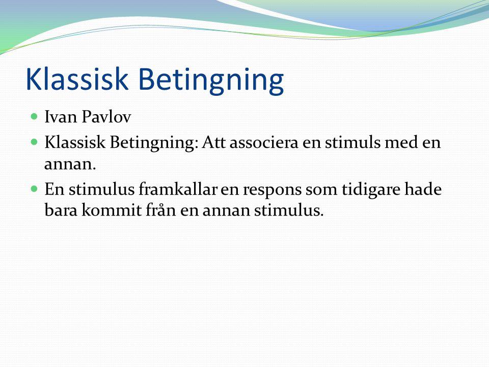 Klassisk Betingning Ivan Pavlov