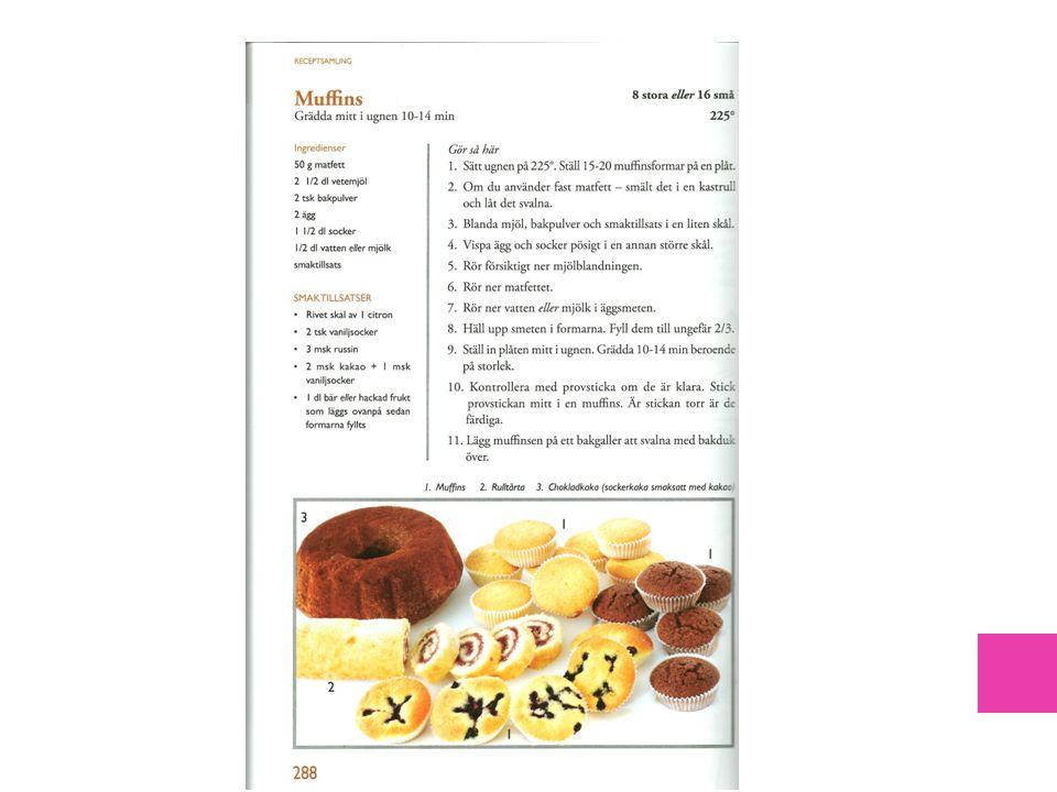 Exempel på recept som använts i undervisningen och kommer från en av läroböckerna i hk