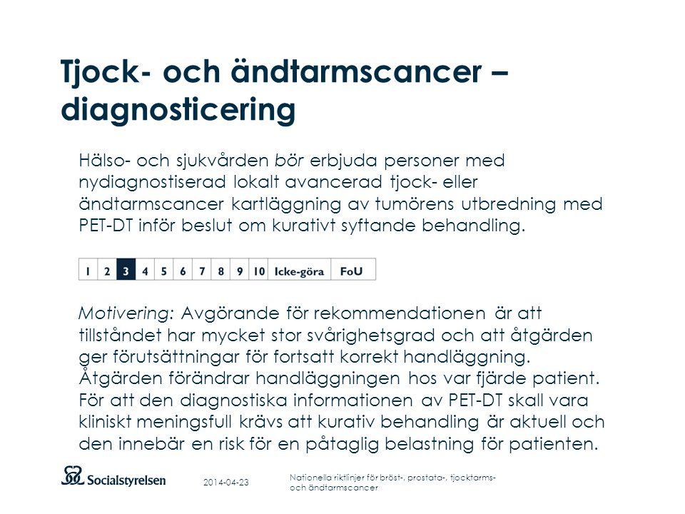 Tjock- och ändtarmscancer – diagnosticering