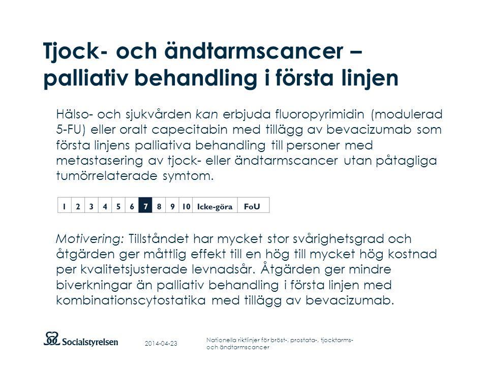 Tjock- och ändtarmscancer – palliativ behandling i första linjen