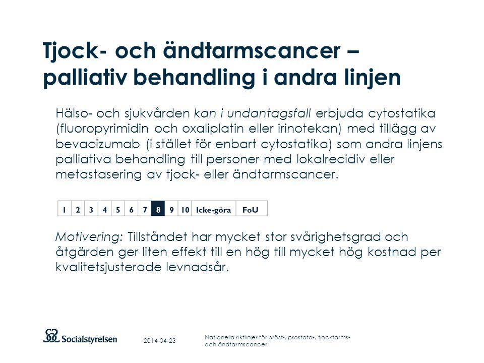 Tjock- och ändtarmscancer – palliativ behandling i andra linjen