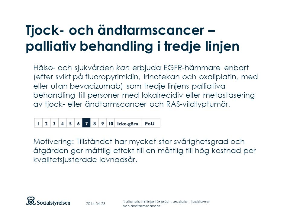 Tjock- och ändtarmscancer – palliativ behandling i tredje linjen