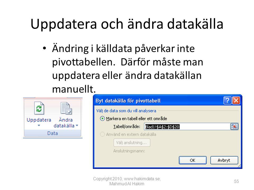 Uppdatera och ändra datakälla
