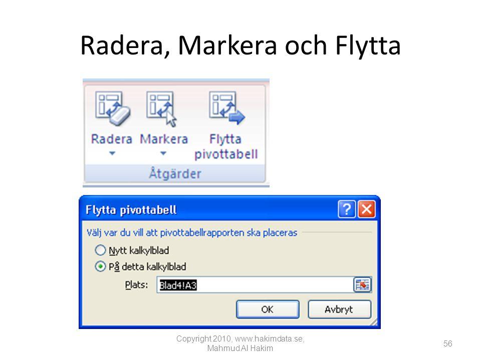 Radera, Markera och Flytta
