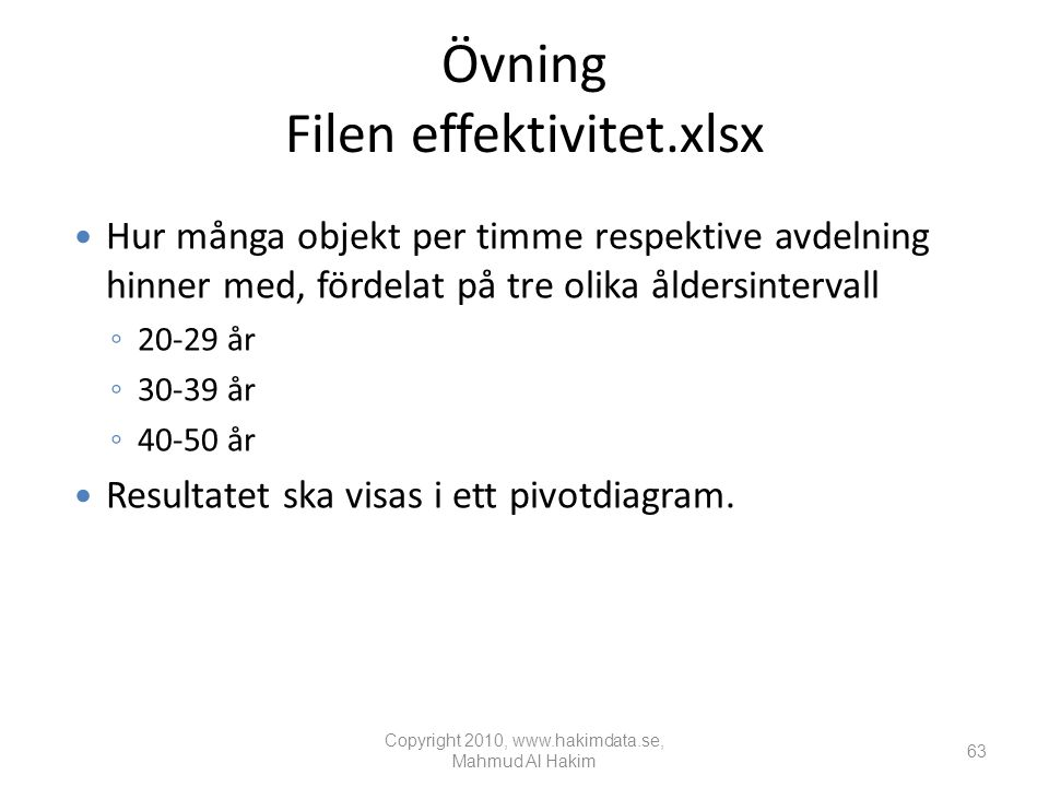 Övning Filen effektivitet.xlsx