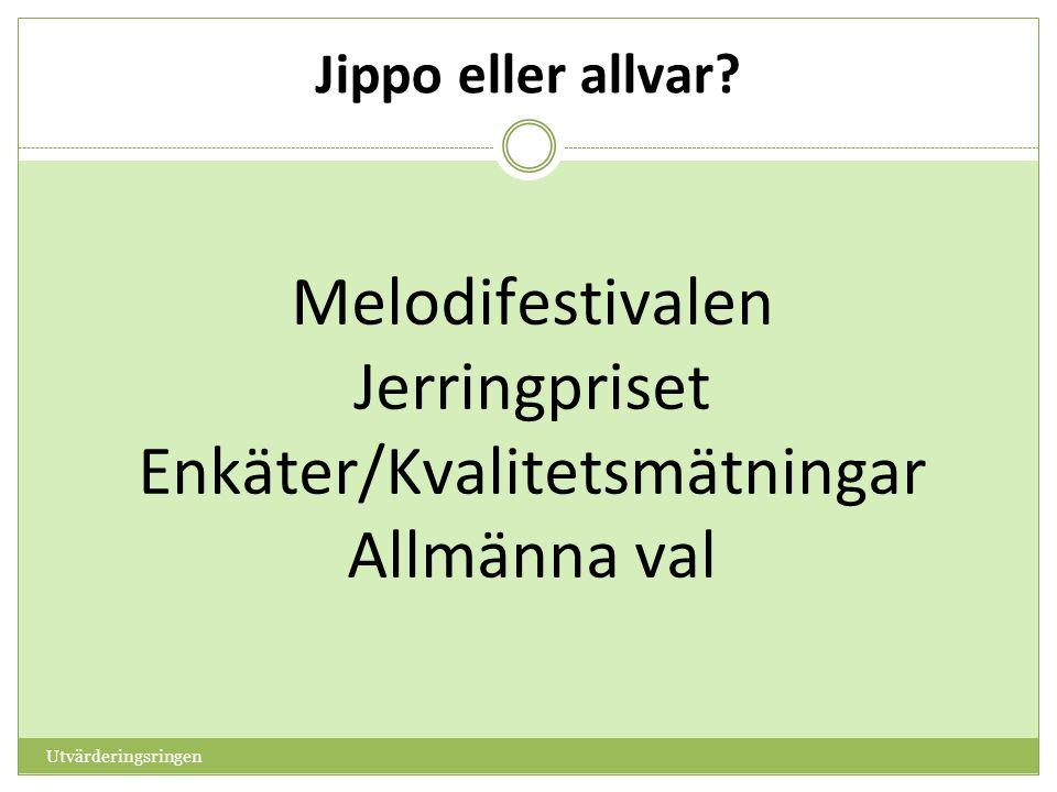 Melodifestivalen Jerringpriset Enkäter/Kvalitetsmätningar Allmänna val