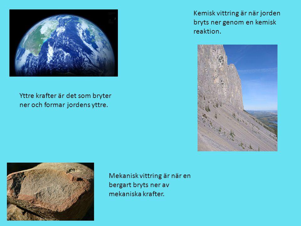 Kemisk vittring är när jorden bryts ner genom en kemisk reaktion.