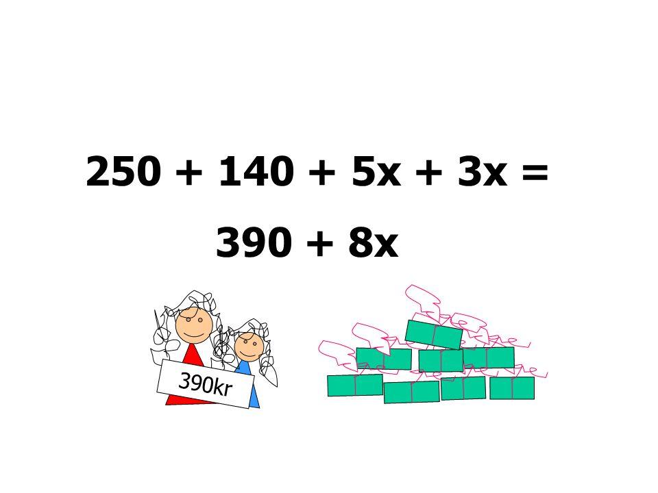 250 + 140 + 5x + 3x = 390 + 8x 390kr